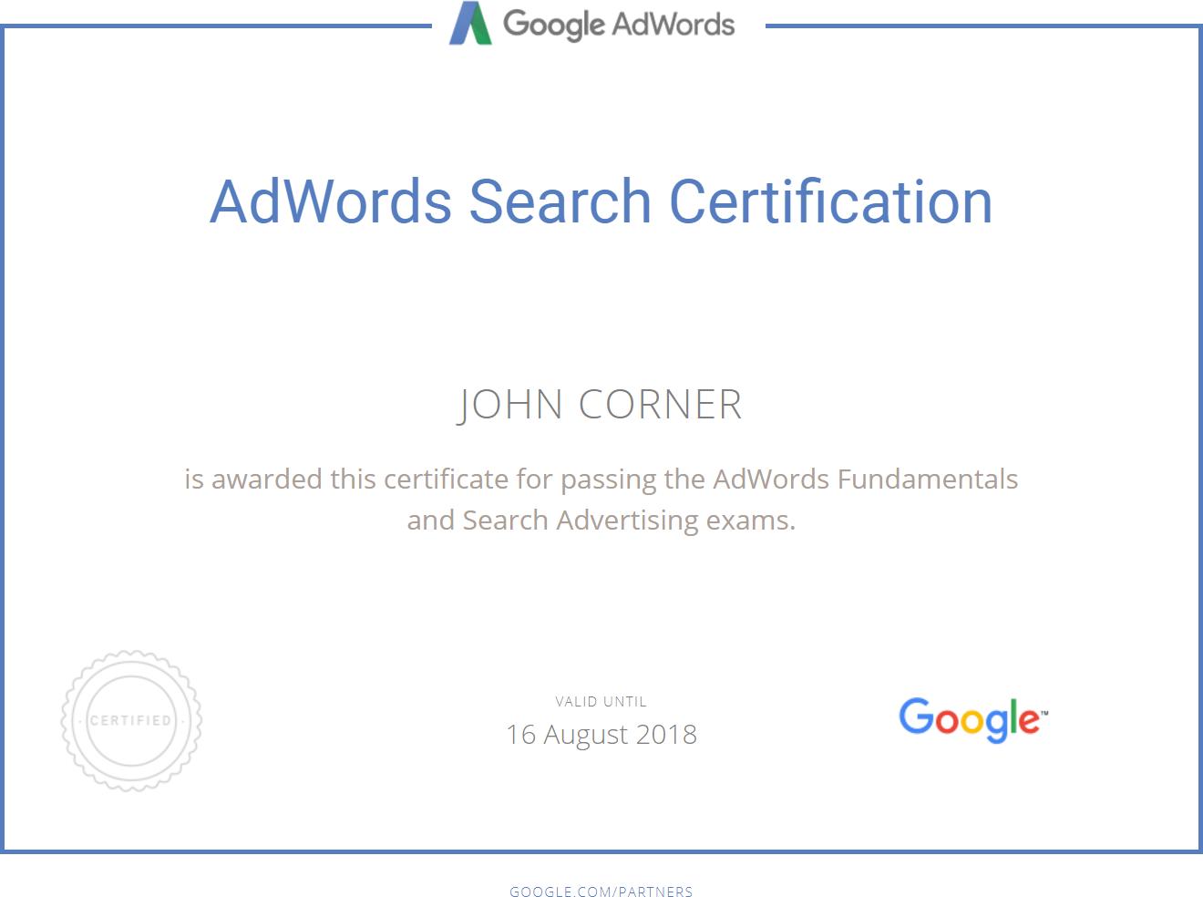 Google Adwords Partner Certification