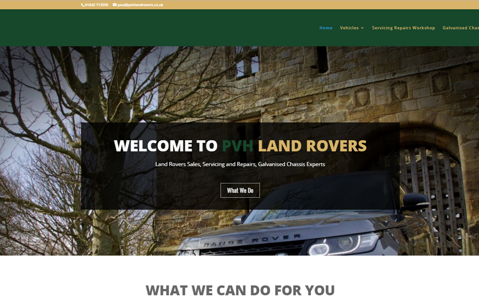 PVH Land Rover website development and photography
